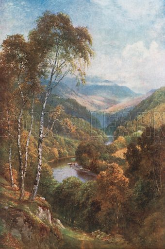 Looking up the Pass of Killiecrankie, Perthshire. Illustration for Bonnie Scotland by AR Hope Moncrieff (A&C Black, 1912).
