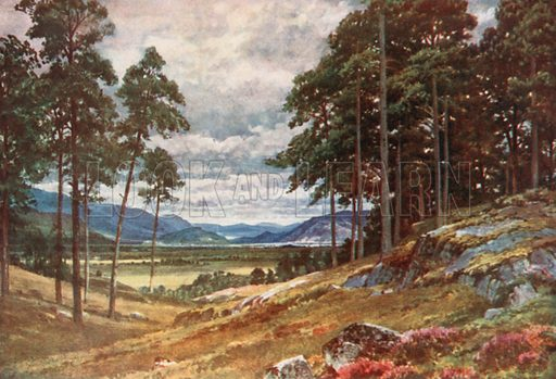 A Peep of the Grampians, Inverness-Shire. Illustration for Bonnie Scotland by AR Hope Moncrieff (A&C Black, 1912).