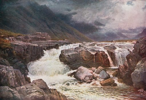 River Coe, Glencoe, Argyllshire. Illustration for Bonnie Scotland by AR Hope Moncrieff (A&C Black, 1912).