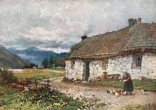 A Croft near Loch Etive, Argyllshire. Illustration for Bonnie Scotland by AR Hope Moncrieff (A&C Black, 1912).