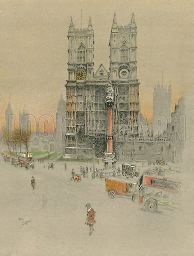 Westminster Abbey. Illustration for Cathedrals of England (Eyre & Spottiswoode, c 1910).