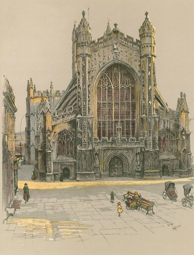 Bath Abbey. Illustration for Cathedrals of England (Eyre & Spottiswoode, c 1910).