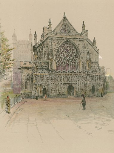 Exeter Cathedral. Illustration for Cathedrals of England (Eyre & Spottiswoode, c 1910).