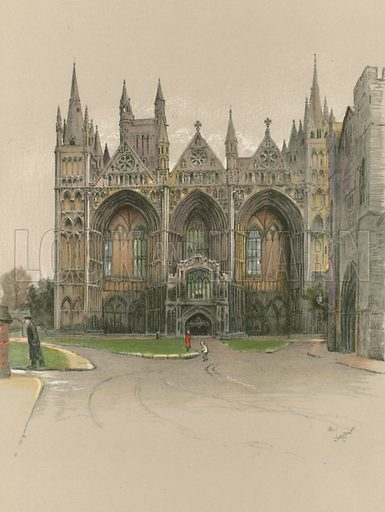 Peterborough Cathedral. Illustration for Cathedrals of England (Eyre & Spottiswoode, c 1910).