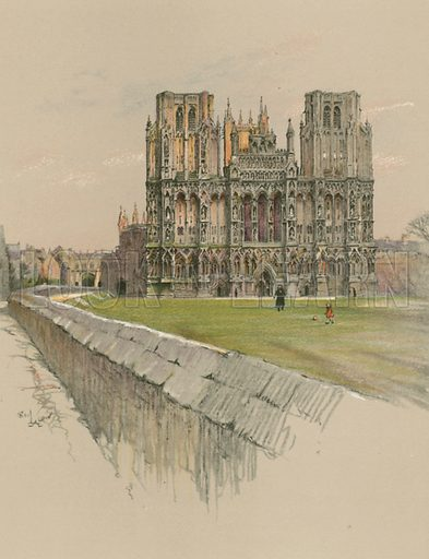 Wells Cathedral. Illustration for Cathedrals of England (Eyre & Spottiswoode, c 1910).
