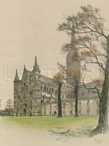 Salisbury Cathedral. Illustration for Cathedrals of England (Eyre & Spottiswoode, c 1910).