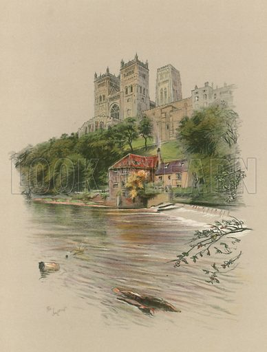 Durham Cathedral. Illustration for Cathedrals of England (Eyre & Spottiswoode, c 1910).