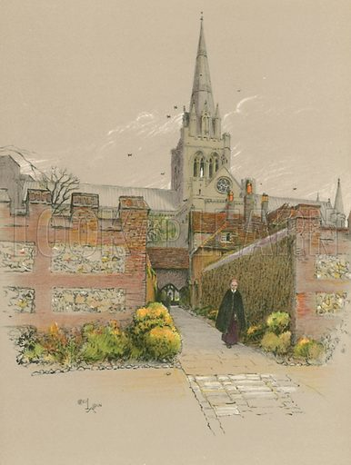 Chichester Cathedral. Illustration for Cathedrals of England (Eyre & Spottiswoode, c 1910).