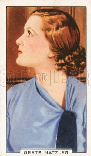 Grete Natzler. Portraits of famous stars. Gallaher cigarette card early 20th century.