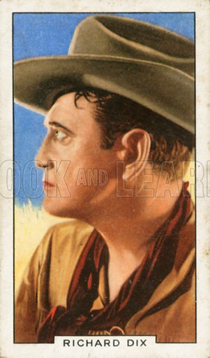 Richard Dix. Portraits of famous stars. Gallaher cigarette card early 20th century.