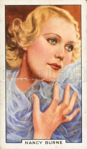 Nancy Burne. Portraits of famous stars. Gallaher cigarette card early 20th century.