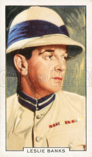 Leslie Banks. Portraits of famous stars. Gallaher cigarette card early 20th century.