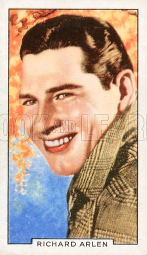 Richard Arlen. Portraits of famous stars. Gallaher cigarette card early 20th century.
