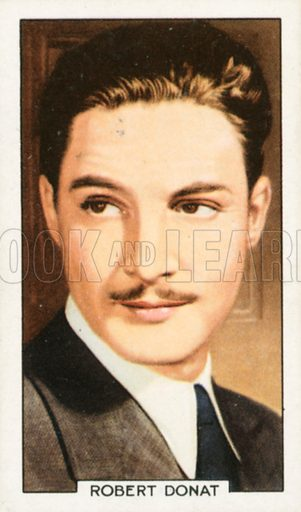 Robert Donat. Portraits of famous stars. Gallaher cigarette card early 20th century.