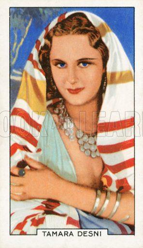 Tamara Desni. Portraits of famous stars. Gallaher cigarette card early 20th century.