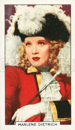 Marlene Dietrich. Portraits of famous stars. Gallaher cigarette card early 20th century.