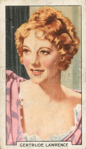 Gertrude Lawrence. Portraits of famous stars. Gallaher cigarette card early 20th century.