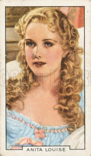 Anita Louise. Portraits of famous stars.  Gallaher cigarette card early 20th century.