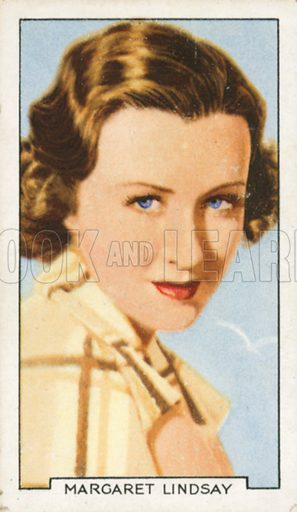 Margaret Lindsay. Portraits of famous stars.  Gallaher cigarette card early 20th century.