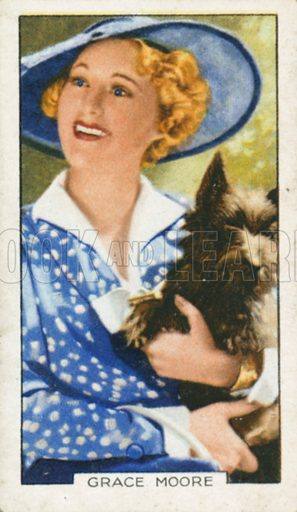 Grace Moore. Portraits of famous stars. Gallaher cigarette card early 20th century.