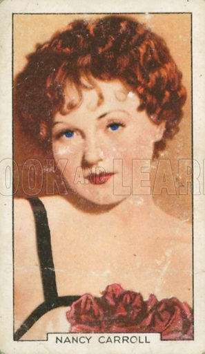 Nancy Carroll. Portraits of famous stars. Gallaher cigarette card early 20th century.