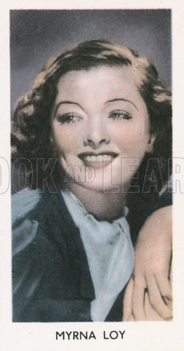 Myrna Loy. Screen stars. Abdulla cigarette card, early 20th century.