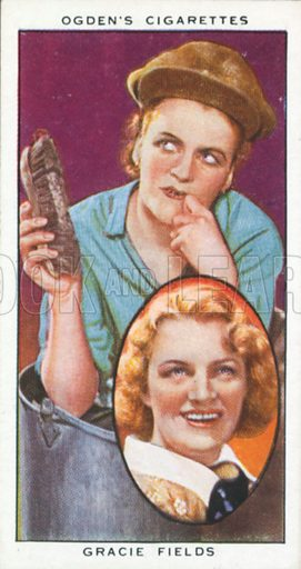 Gracie Fields. Actors natural and character studies. Ogden's cigarette card, early 20th century.