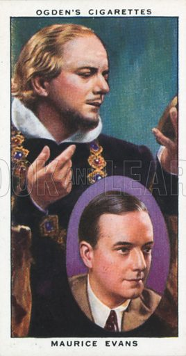 Maurice Evans. Actors natural and character studies. Ogden's cigarette card, early 20th century.