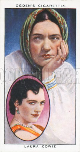 Laura Cowie. Actors natural and character studies. Ogden's cigarette card, early 20th century.