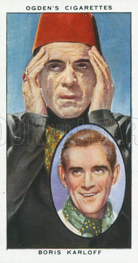 Boris Karloff. Actors natural and character studies. Ogden's cigarette card, early 20th century.