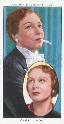 Olga Lindo. Actors natural and character studies. Ogden's cigarette card, early 20th century.