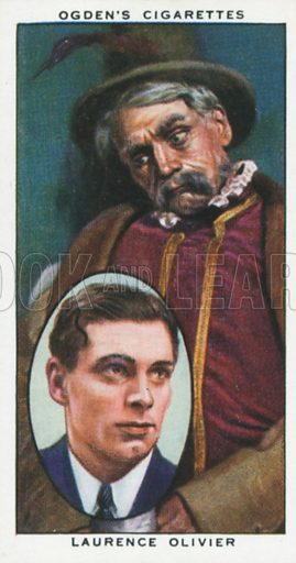 Laurence Olivier. Actors natural and character studies. Ogden's cigarette card, early 20th century.