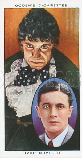 Ivor Novello. Actors natural and character studies. Ogden's cigarette card, early 20th century.