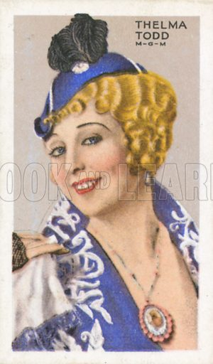 Thelma Todd. Stars of screen and stage. Park Drive cigarette card, early 20th century.