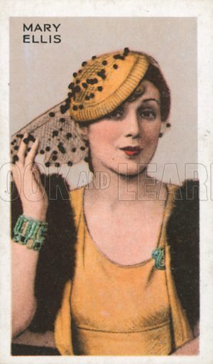 Mary Ellis. Stars of screen and stage. Park Drive cigarette card, early 20th century.