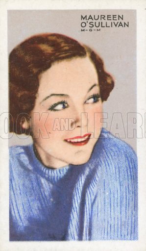 Maureen O'Sullivan. Stars of screen and stage. Park Drive cigarette card, early 20th century.
