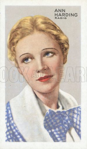 Ann Harding. Stars of screen and stage. Park Drive cigarette card, early 20th century.