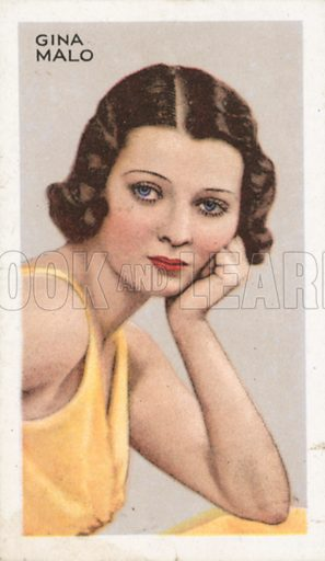 Gina Malo. Stars of screen and stage. Park Drive cigarette card, early 20th century.