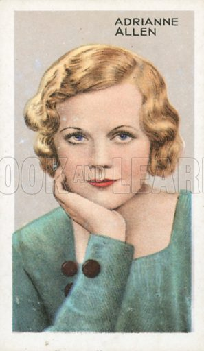 Adrianne Allen. Stars of screen and stage. Park Drive cigarette card, early 20th century.