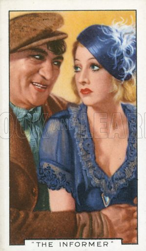 """""""The Informer"""". Film episodes. Gallaher cigarette card, early 20th century."""
