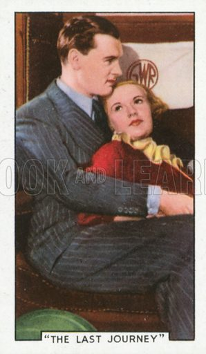 """""""The Last Journey"""". Film episodes. Gallaher cigarette card, early 20th century."""