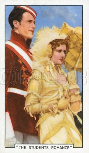 """""""The Students Romance"""". Film episodes. Gallaher cigarette card, early 20th century."""