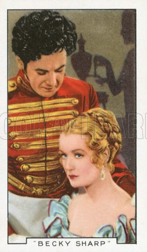 """""""Becky Sharp"""". Film episodes. Gallaher cigarette card, early 20th century."""