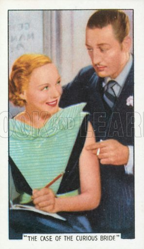 """""""The Case of the Curious Bride"""". Film episodes. Gallaher cigarette card, early 20th century."""