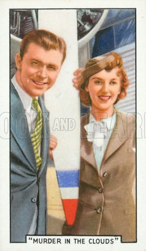 """""""Murder in the Clouds"""". Film episodes. Gallaher cigarette card, early 20th century."""