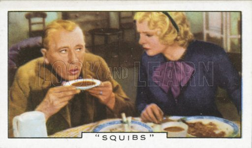 """""""Squibs"""". Film episodes. Gallaher cigarette card, early 20th century."""