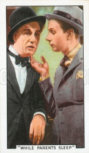 """""""While Parents Sleep"""". Film episodes. Gallaher cigarette card, early 20th century."""
