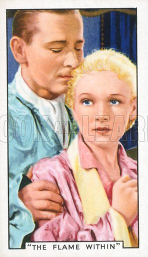 """""""The Flame within"""". Film episodes. Gallaher cigarette card, early 20th century."""