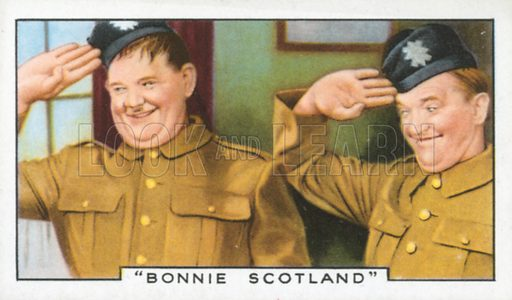 """Bonnie Scotland"". Film episodes. Gallaher cigarette card, early 20th century."