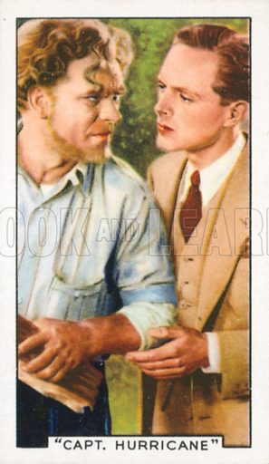 """""""Capt. Hurricane"""". Film episodes. Gallaher cigarette card, early 20th century."""
